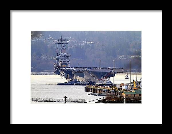 Ship Framed Print featuring the photograph Uss Nimitz  by Patrick Forster