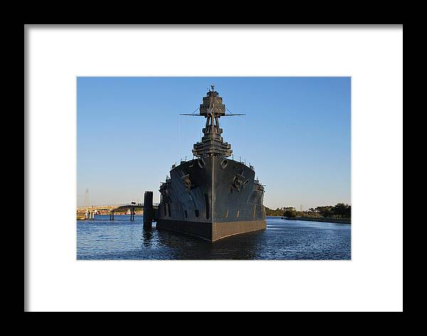 Uss Texas Framed Print featuring the photograph Uss Texas Bow by Richard Booth