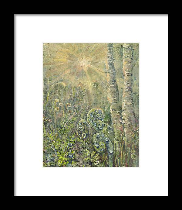 Landscape Framed Print featuring the painting Utopia Fiddle Light by Patricia Trudeau