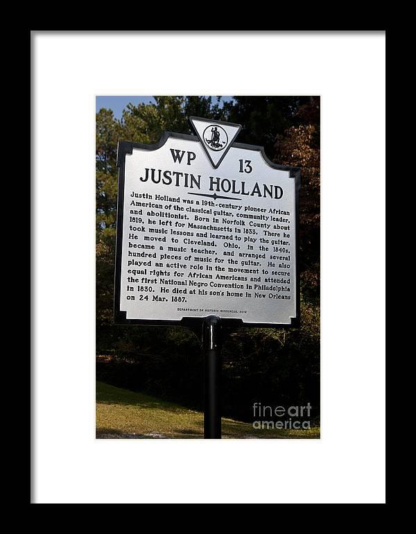 Justin Holland Framed Print featuring the photograph Va-wp13 Justin Holland by Jason O Watson