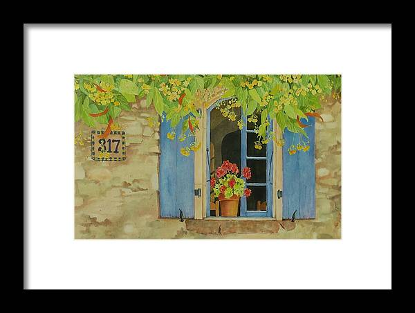 France Framed Print featuring the painting Vacation Memory by Mary Ellen Mueller Legault