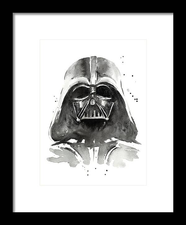 Watercolor Framed Print featuring the painting Darth Vader Watercolor by Olga Shvartsur