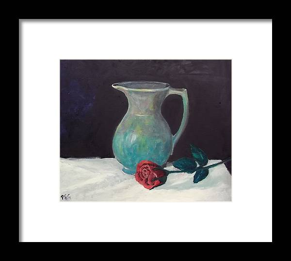 Oil Framed Print featuring the painting Valentine Rose by Peter Edward Green