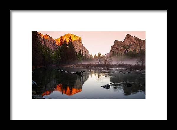 Bridalveil Fall Framed Print featuring the photograph Valley View Winter Sunset Yosemite National Park by Scott McGuire
