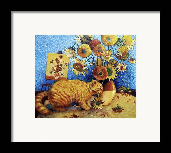 Cat Art Framed Print featuring the painting Van Gogh's Bad Cat by Eve Riser Roberts