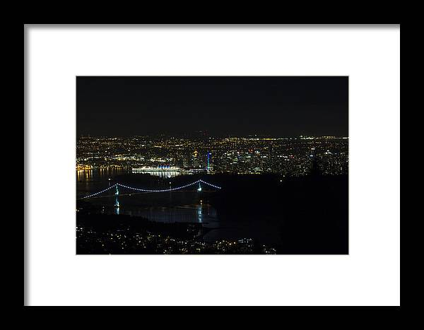 Lions Gate Bridge Framed Print featuring the photograph Vancouver At Night by Jeremy Oberg