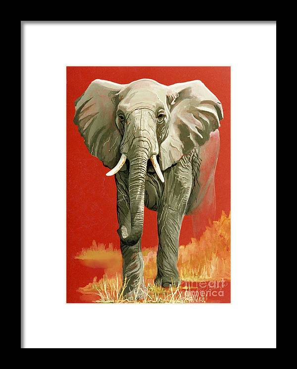 Elephant Framed Print featuring the painting Vanishing Thunder Series by Suzanne Schaefer