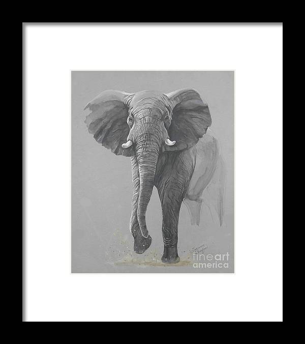 Elephant Framed Print featuring the painting Vanishing Thunder by Suzanne Schaefer