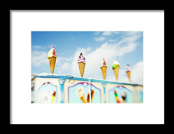 Sweden Framed Print featuring the photograph Variety Of Ice Cream Sculptures On Cart by Kentaroo Tryman