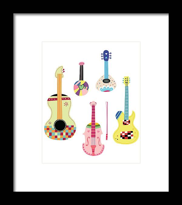 White Background Framed Print featuring the digital art Various Kinds Of Stringed Instruments by Eastnine Inc.