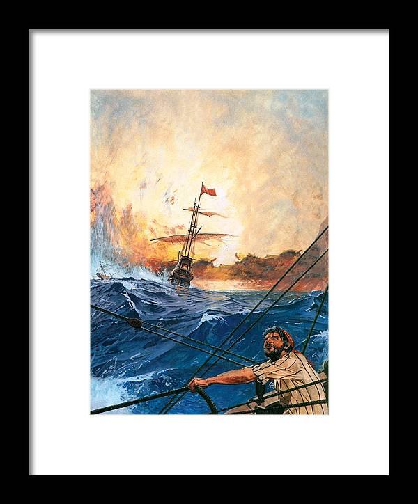 Vasco Framed Print featuring the painting Vasco Da Gama's Ships Rounding The Cape by English School