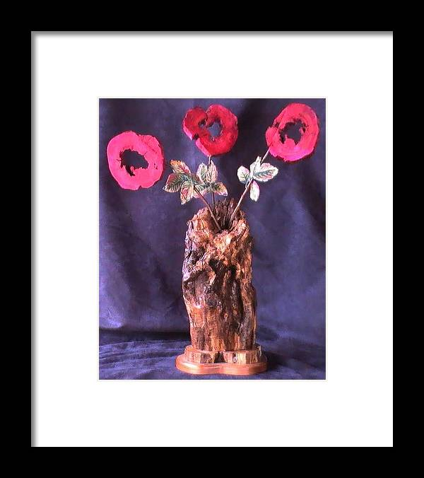 Wood Vase Framed Print featuring the mixed media Vase of Flowers by Tanna Lee M Wells