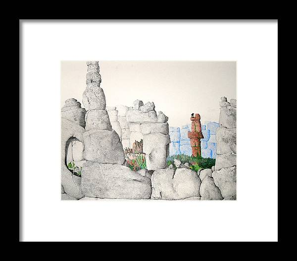 Landscape Framed Print featuring the painting Vaulting by A Robert Malcom