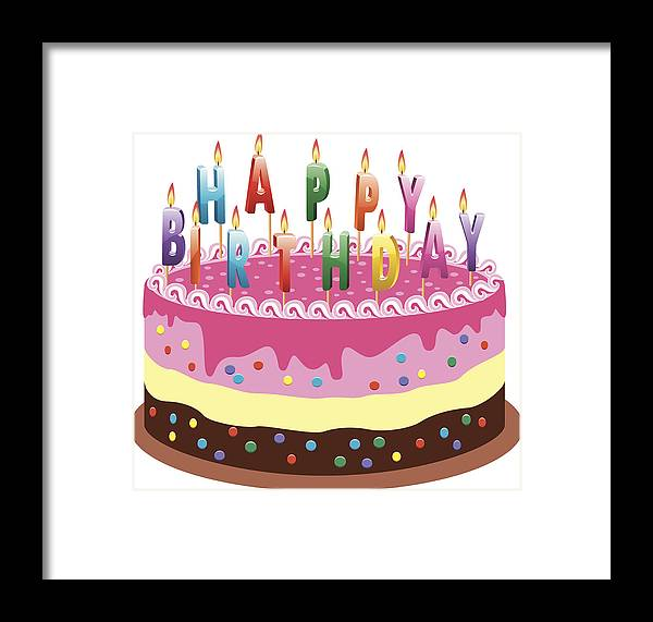 White Background Framed Print Featuring The Drawing Vector Birthday Cake By FreeSoulProduction