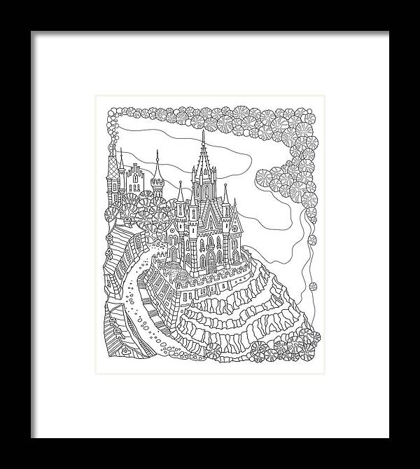 Vector Black And White Outline Contoured Fantasy Landscape Fairy