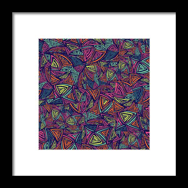 Cool Attitude Framed Print featuring the digital art Vector Colorful Seamless Pattern With by Tatiana kost