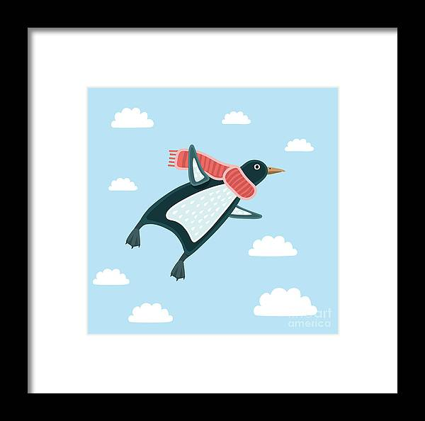 Symbol Framed Print featuring the digital art Vector Illustration Of The Flying by Cosmaa