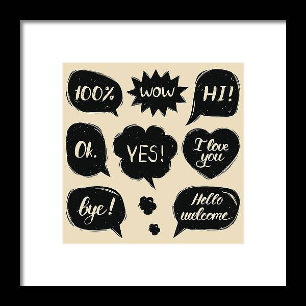 Vector Set Of Hand Drawn Colorful Comic Speech Bubbles With Phrases Hi,  Hello, I Love You, Yes, Wow, Bye, Welcome, Ok  Framed Print