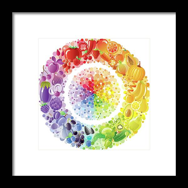 Nut Framed Print featuring the digital art Vegetarian Rainbow Plate Withe Fruits by O-che