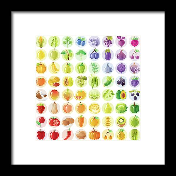 Nut Framed Print featuring the digital art Vegetarian Rainbow Withe Fruits by O-che