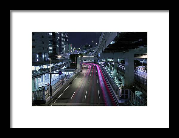 Yokohama Framed Print featuring the photograph Vehicle Light Trails On National Route 1 by Digipub