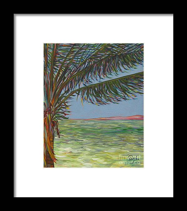 Ocean Framed Print featuring the painting Veiled Horizon by Karen Doyle