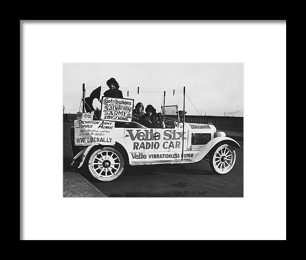 1920s Framed Print featuring the photograph Velie Six Radio Car by Underwood & Underwood