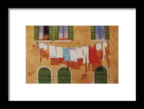 Venice Framed Print featuring the painting Venetian Washday by Mary Ellen Mueller Legault