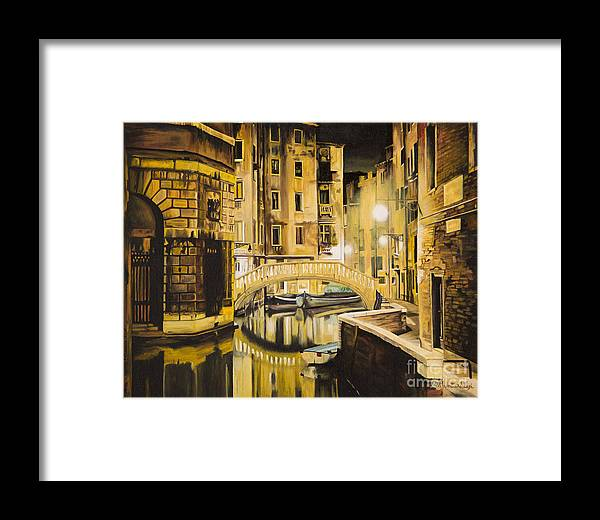 Venezia Framed Print featuring the painting Venice At Night by Betta Artusi