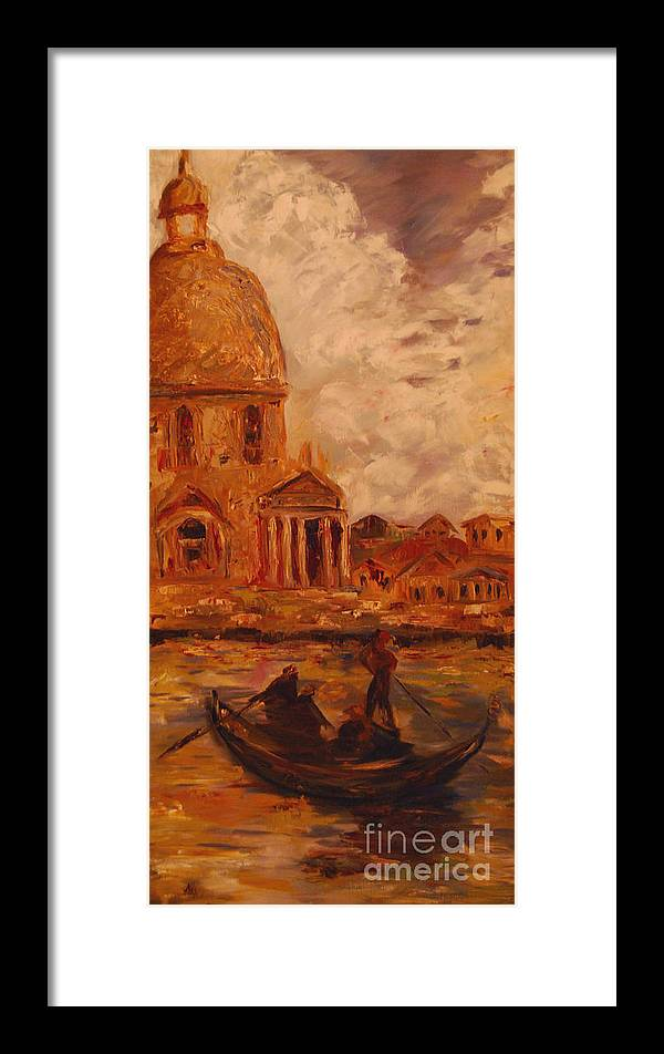 Boats Framed Print featuring the painting Venice Morning by Nancy Bradley
