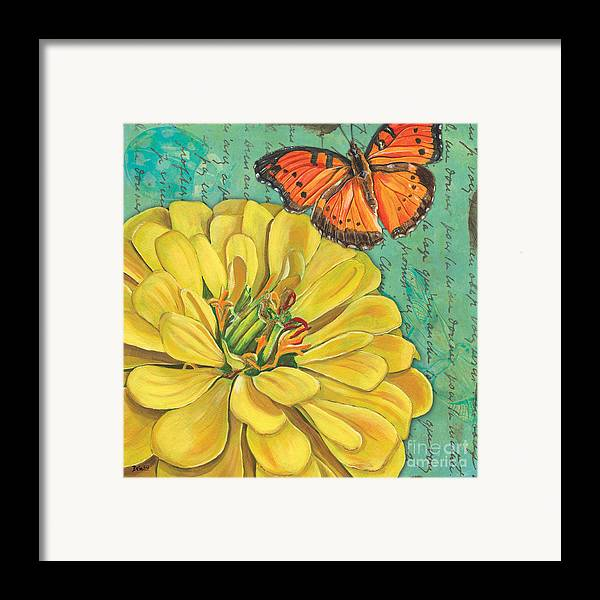 Floral Framed Print featuring the painting Verdigris Floral 2 by Debbie DeWitt