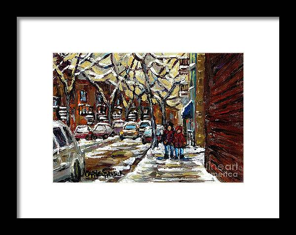 Montreal Framed Print featuring the painting Verdun Winter Row Houses In January Montreal Paintings Time For A Walk Carole Spandau by Carole Spandau