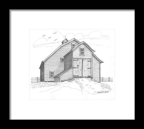 Barns Framed Print featuring the drawing Vermont Barn by Richard Wambach