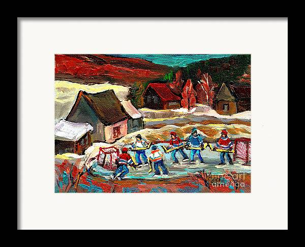 Vermont Framed Print featuring the painting Vermont Pond Hockey Scene by Carole Spandau
