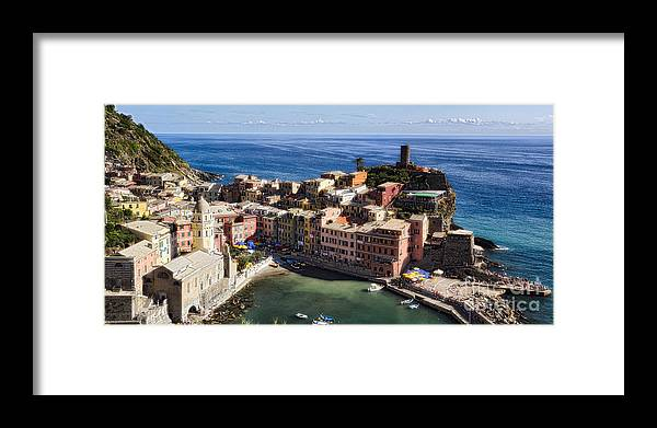 Cinque Terre Framed Print featuring the photograph Vernazza From Above by George Oze