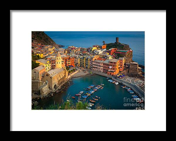 Cinque Terre Framed Print featuring the photograph Vernazza Pomeriggio by Inge Johnsson