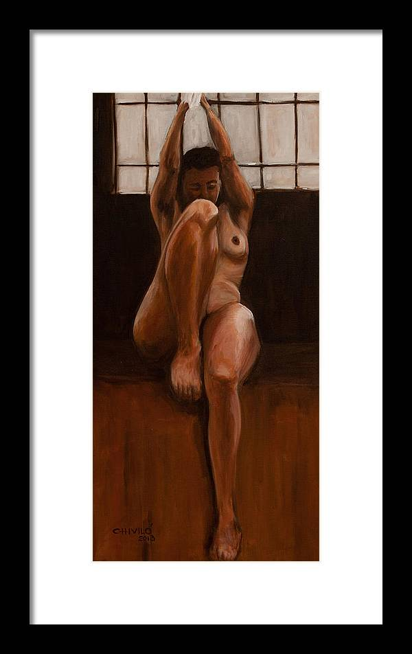 Nude Framed Print featuring the painting Vertical Naked by Hector Chivilo