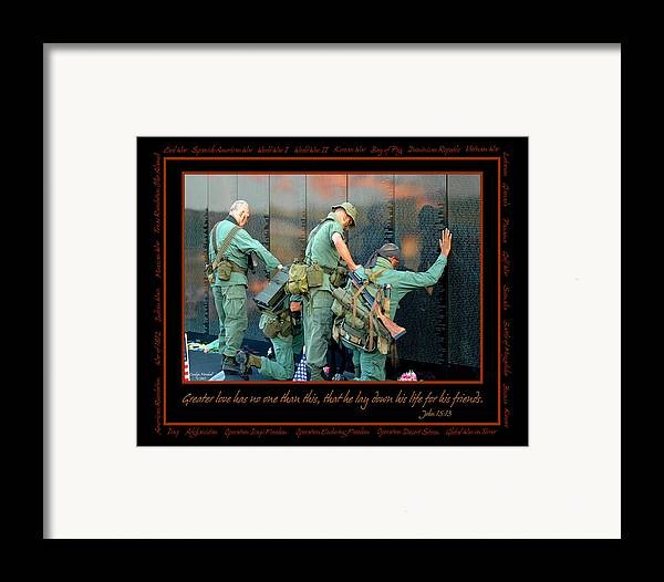 Veterans Framed Print featuring the photograph Veterans At Vietnam Wall by Carolyn Marshall