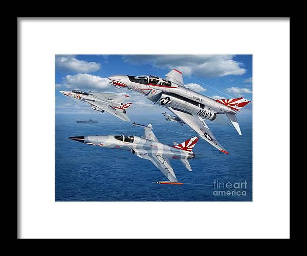 Vf-111 Sundowners Framed Print featuring the digital art VF-111 Sundowners Heritage by Stu Shepherd