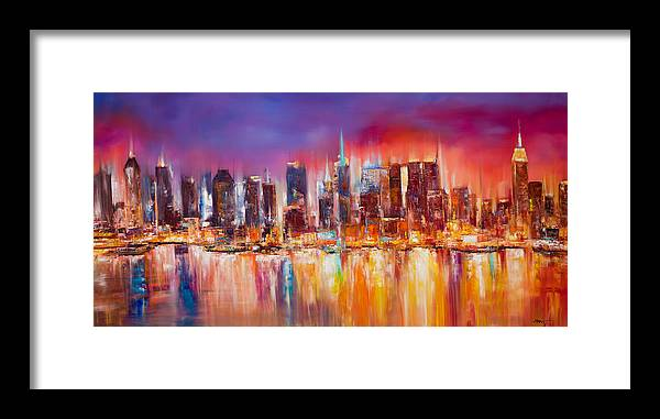 Nyc Paintings Framed Print featuring the painting Vibrant New York City Skyline by Manit