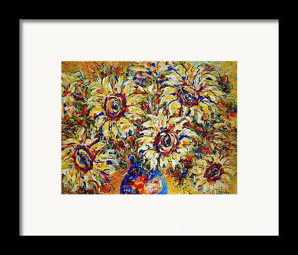 Flowers Framed Print featuring the painting Vibrant Sunflower Essence by Natalie Holland