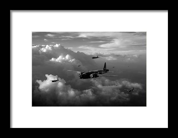 Wellington Framed Print featuring the photograph Vickers Wellingtons No 75 Squadron Black And White Version by Gary Eason
