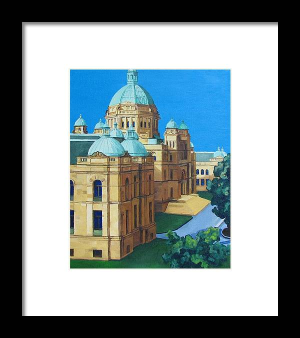 Victoria Bc Framed Print featuring the painting Victoria Bc Parliament by Nel Kwiatkowska
