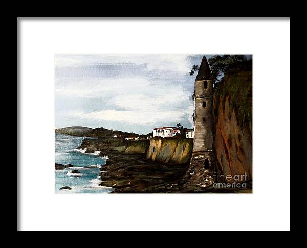 Canvas Framed Print featuring the painting Victoria Beach Laguna Beach by Valarie Pacheco