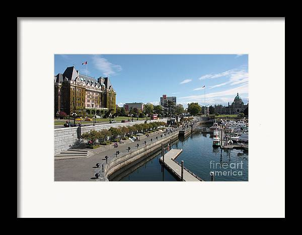 Victoria Framed Print featuring the photograph Victoria Harbour With Empress Hotel by Carol Groenen