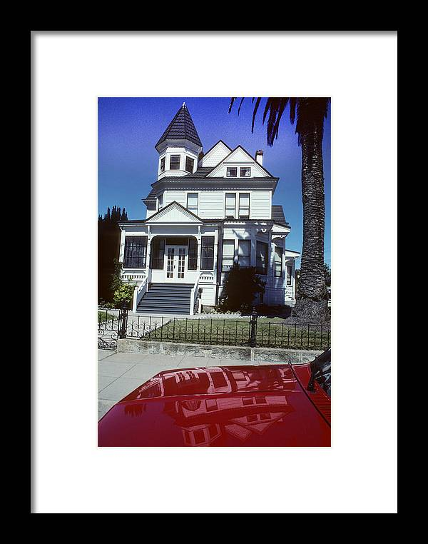White Framed Print featuring the photograph Victorian House In San Francisco by Carl Purcell