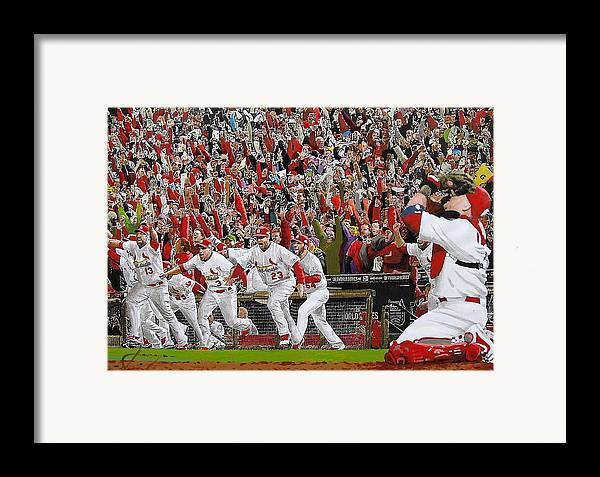 Baseball Framed Print featuring the painting Victory - St Louis Cardinals Win The World Series Title - Friday Oct 28th 2011 by Dan Haraga