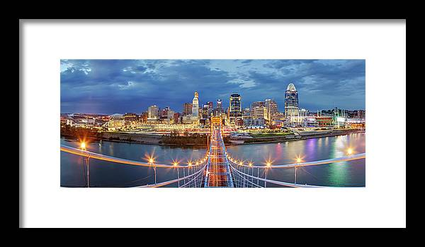 Downtown District Framed Print featuring the photograph View From Atop John A. Roebling Bridge by Adam Jones