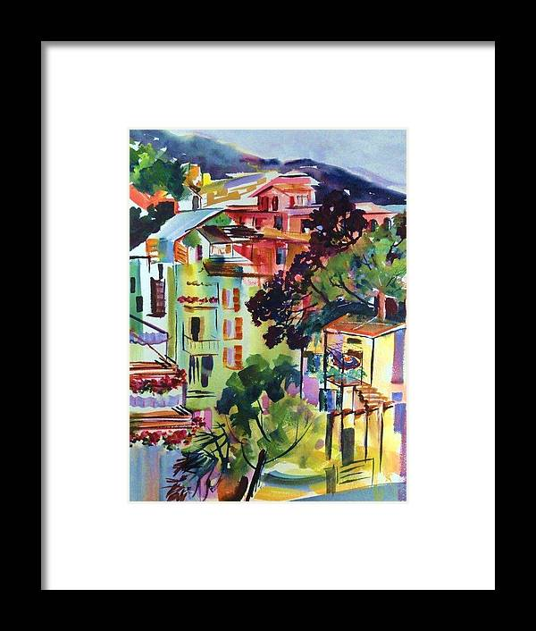 Cinque Terra Framed Print featuring the painting View From Our Hotel Window Cinque Terre by Therese Fowler-Bailey