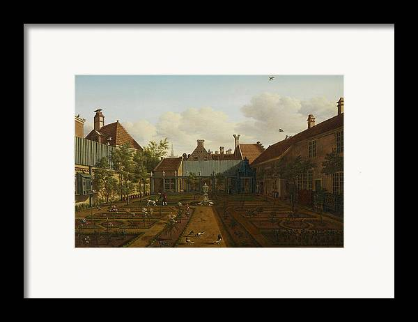 Garden Framed Print featuring the painting View Of A Town House Garden In The Hague by Paulus Constantin La Fargue